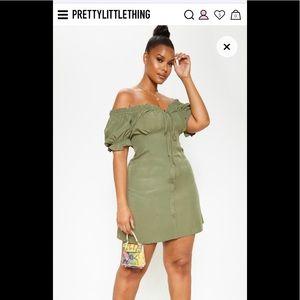 Pretty Little Thing Off the Shoulder Khaki Dress